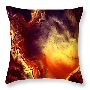 Hand Of Gold Translucent Fluid Macro Photography Art By Kredart Throw Pillow