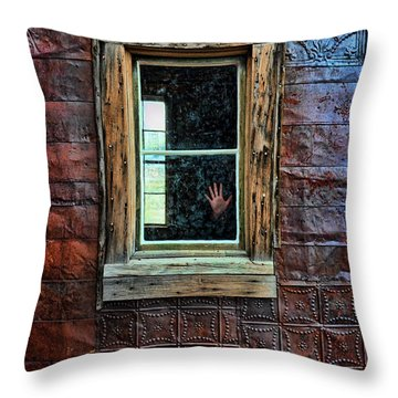 Hand On Old Window Throw Pillow by Jill Battaglia