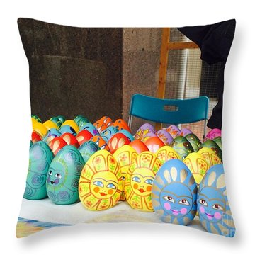 Hand Painted Eggs- 2014 Throw Pillow