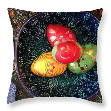 Hand Painted Eggs- Arezoo Throw Pillow