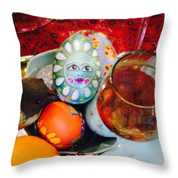 Hand Painted Eggs- Azadeh Throw Pillow