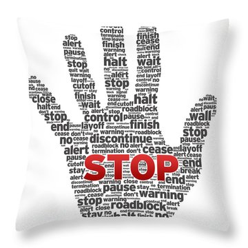 Hand With Words Throw Pillow