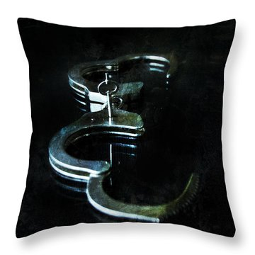 Handcuffs On Black Throw Pillow by Jill Battaglia