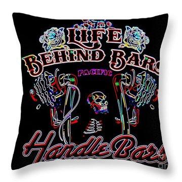 Handle Bars In Neon Throw Pillow