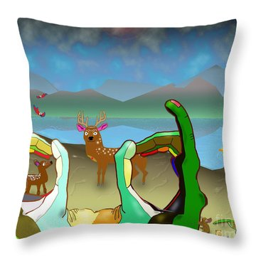 Hands And Deer Throw Pillow