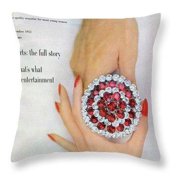 Hands Holding A Coro Rhinestone Pin Throw Pillow