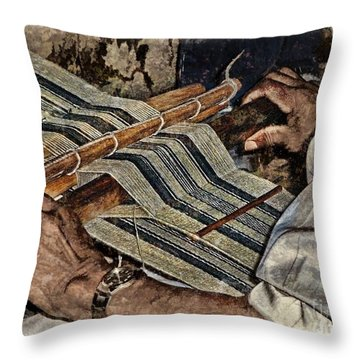 Hands Of The Weaver Throw Pillow by Julia Springer
