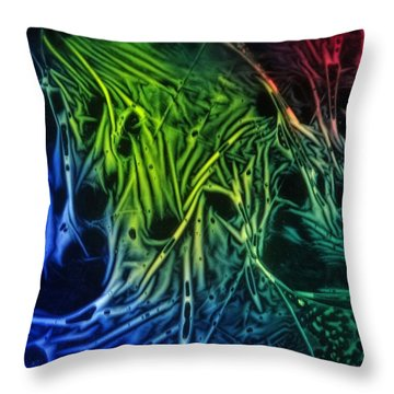 chemiluminescence photography Handprint Throw Pillow