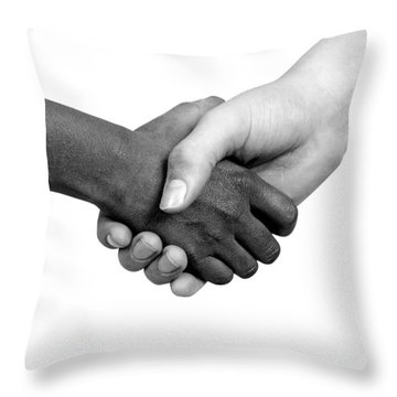 Handshake Black And White Throw Pillow by Chevy Fleet