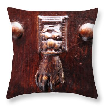 Handy Door Knocker Throw Pillow