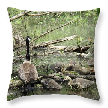 Hangin Out With Mom Throw Pillow by Sara  Raber