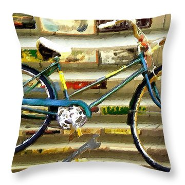 Hanging Bike Throw Pillow