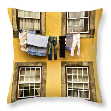 Hanging Clothes Of Old World Europe Throw Pillow