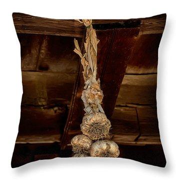 Hanging Garlic Throw Pillow