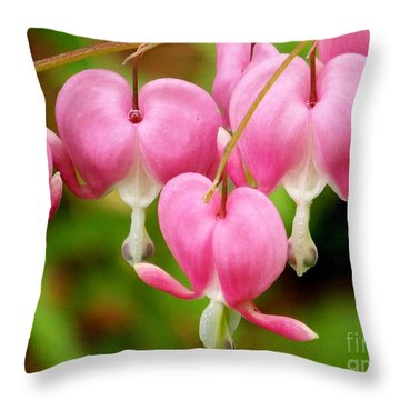 Hanging Hearts In Pink And White Throw Pillow