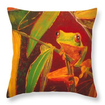 Hanging In There Throw Pillow by Anna Skaradzinska