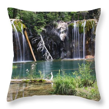 Hanging Lake Throw Pillow by Eric Glaser
