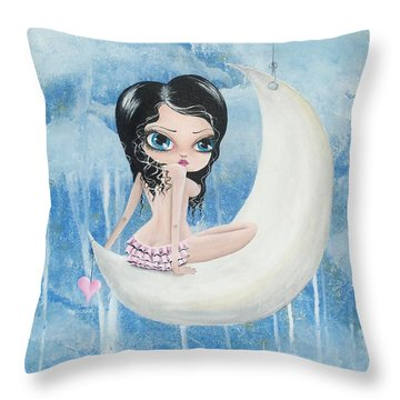Hanging On The Moon Throw Pillow
