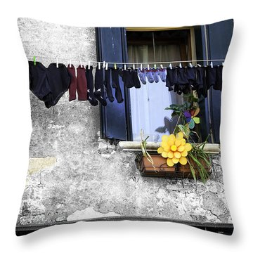 Hanging Out To Dry In Venice 2 Throw Pillow by Madeline Ellis