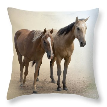 Hanging Out Together Throw Pillow by Betty LaRue