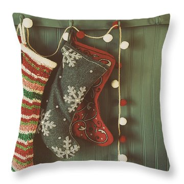Throw Pillow featuring the photograph Hanging Stockings Ready For Christmas by Sandra Cunningham