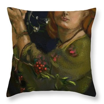 Hanging The Mistletoe Throw Pillow by Carrie Joy Byrnes