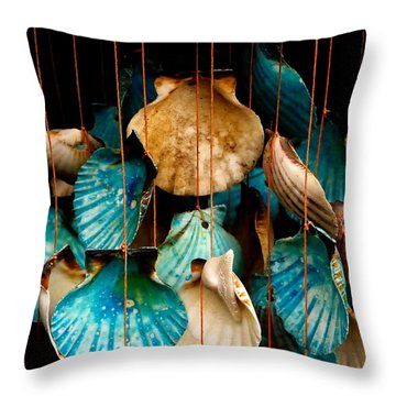 Throw Pillow featuring the photograph Hanging Together - Sea Shell Wind Chime by Steven Milner