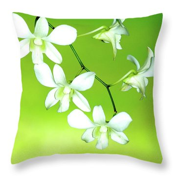 Hanging White Orchids Throw Pillow