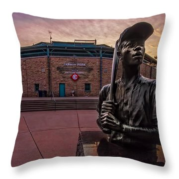 Hank Aaron Statue Throw Pillow by Tom Gort