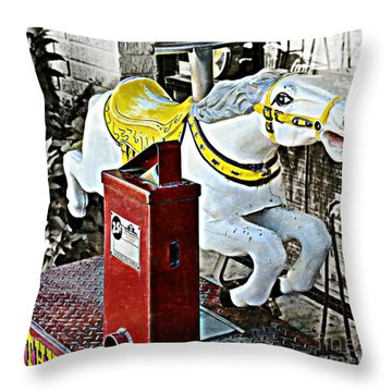 Hannibal Mechanical Riding Horse Throw Pillow by Luther Fine Art