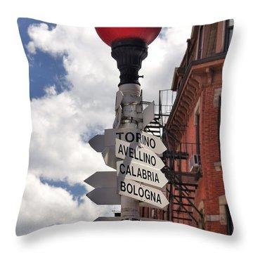 Hanover Street Boston North End Throw Pillow by Joann Vitali
