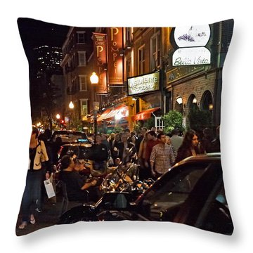 Hanover Street Nights - Boston Throw Pillow by Joann Vitali
