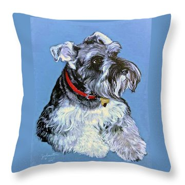 Throw Pillow featuring the painting Hans The Schnauzer Original Painting Forsale by Bob and Nadine Johnston