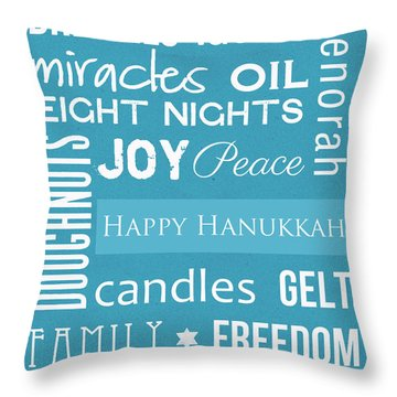 Hanukkah Fun Throw Pillow by Linda Woods