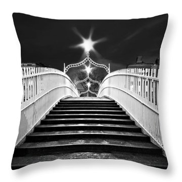 Throw Pillow featuring the photograph Ha'penny Bridge Steps - Dublin - Black And White by Barry O Carroll