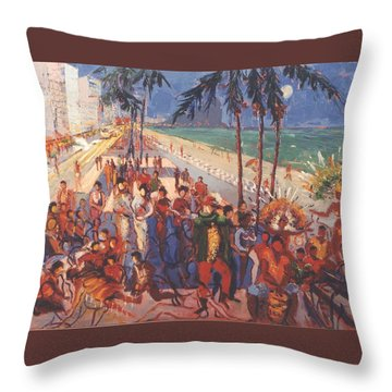 Throw Pillow featuring the painting Happening by Walter Casaravilla