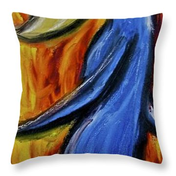 Throw Pillow featuring the painting Happiness 12-005 by Mario Perron