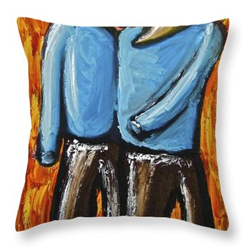 Throw Pillow featuring the painting Happiness 12-008 by Mario Perron