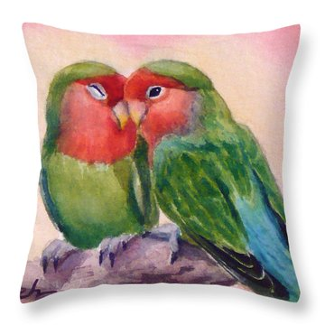 Happiness Forever Lovebirds Throw Pillow