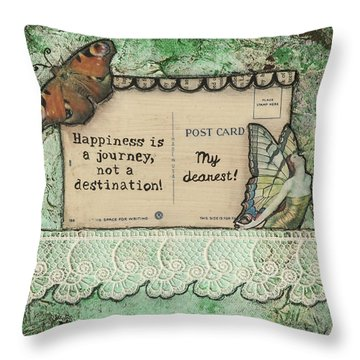 Throw Pillow featuring the mixed media Happiness Is A Journey Inspirational Mixed Media Folk Art by Stanka Vukelic