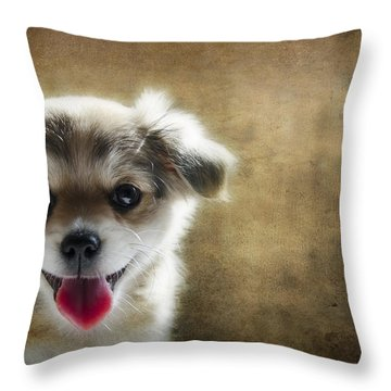Happiness Is A Little Puppy Throw Pillow by Lisa Knechtel