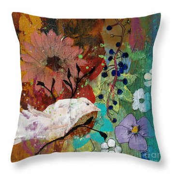 Throw Pillow featuring the painting Happiness by Robin Maria Pedrero