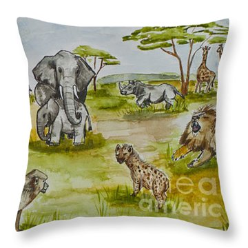 Happy Africa Throw Pillow