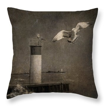 Happy And Free As A Seagull Throw Pillow