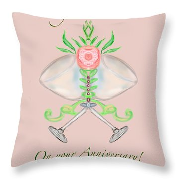 Throw Pillow featuring the digital art Happy Anniversary 1 by Christine Fournier