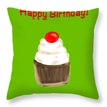 Throw Pillow featuring the digital art Happy Bday W A Cherry On Top by Christine Fournier