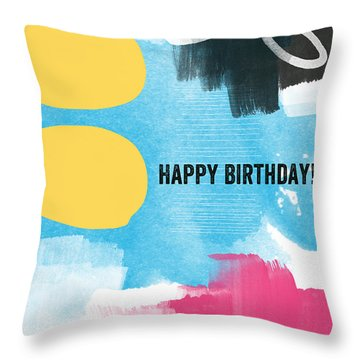 Happy Birthday- Colorful Abstract Greeting Card Throw Pillow