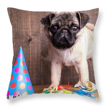 Happy Birthday Cute Pug Puppy Throw Pillow by Edward Fielding