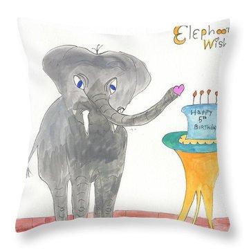 Happy Birthday From Elephoot Throw Pillow