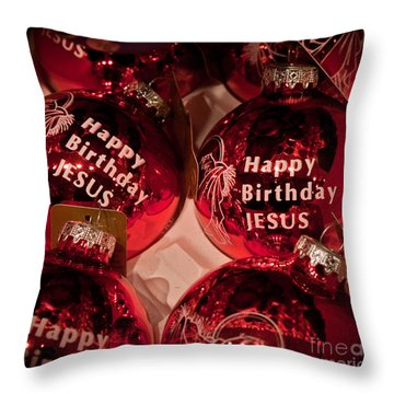 Happy Birthday Jesus Throw Pillow by Joann Copeland-Paul